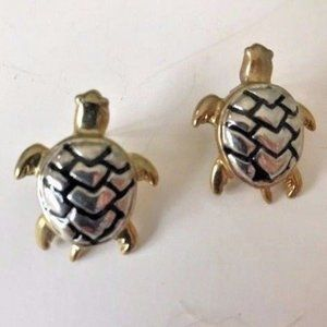 Turtle Earrings Posts Silver Gold Tone Vintage